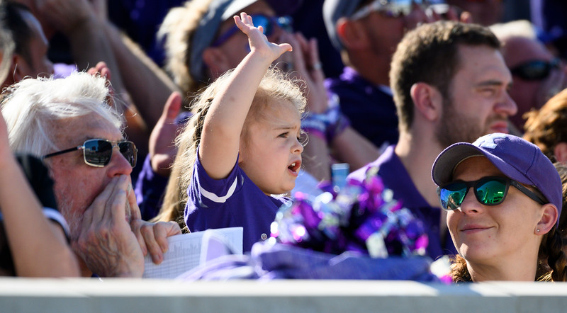 Fans heckle the TCU team after scoring against The Wildcats. KSU and TCU faced off at Bill Snyder Family Stadium on Oct 19, 2019. The Wildcats defeated the Horned Frogs 24-17. (Dylan Connell | Collegian Media Group)