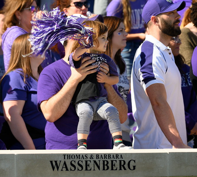 Young fan cheers for Tight End, Nick Lenners, as he scores the first Touchdown of the game against TCU. The Wildcats defeated the Horned Frogs 24-17 at Bill Snyder Family Stadium. (Dylan Connell | Collegian Media Group)
