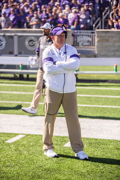K-State head coach Chris Klieman prepares for the football game against TCU at Bill Snyder Family Stadium on Oct. 19, 2019. The Wildcats took the Horned Frogs 24-17. (Logan Wassall | Collegian Media Group)
