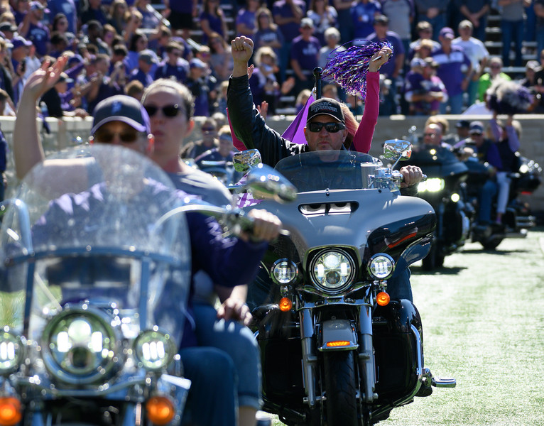 Riders take their thunderous lap around the KSU stadium for Harley Day, pregame against TCU at Bill Snyder Family Stadium on Oct 19, 2019. The Wildcats defeated the Horned Frogs 24-17. (Dylan Connell | Collegian Media Group)