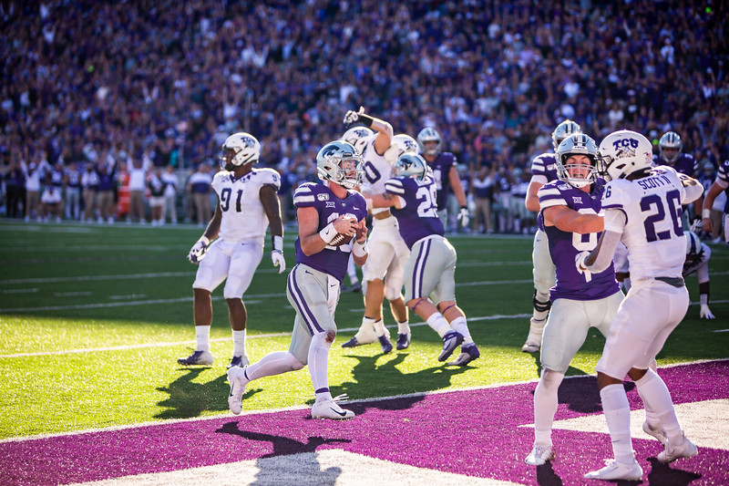 Junior quarterback Skylar Thompson runs in a touchdown during K-State's football game against TCU at Bill Snyder Family Stadium on Oct. 19, 2019. The Wildcats took the Horned Frogs 24-17. (Logan Wassall | Collegian Media Group)