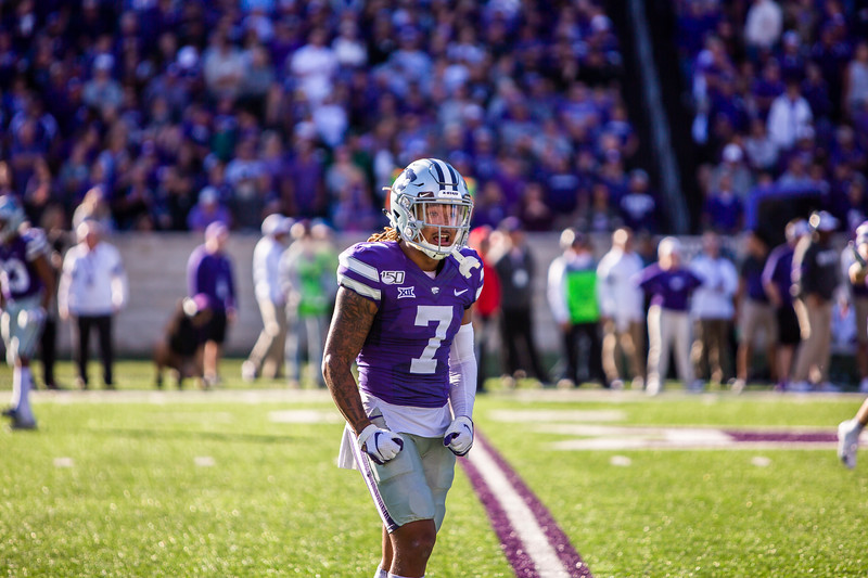 Senior defensive back Kevion McGee celebrates after a play during K-State's football game against TCU at Bill Snyder Family Stadium on Oct. 19, 2019. The Wildcats took the Horned Frogs 24-17. (Logan Wassall | Collegian Media Group)