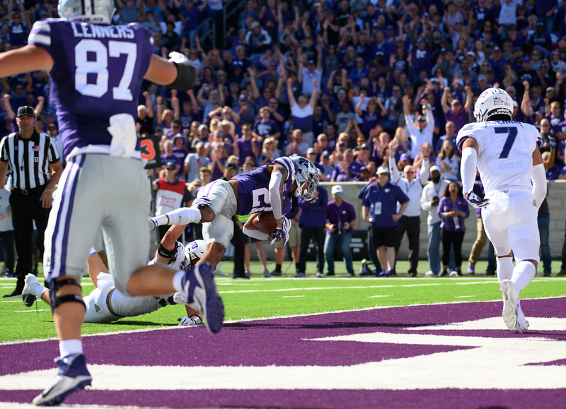 KSU wide receiver, Wykeen Gill, is tackled while crossing the goal line. KSU and TCU faced off at Bill Snyder Family Stadium on Oct 19, 2019. The Wildcats defeated the Horned Frogs 24-17. (Dylan Connell | Collegian Media Group)