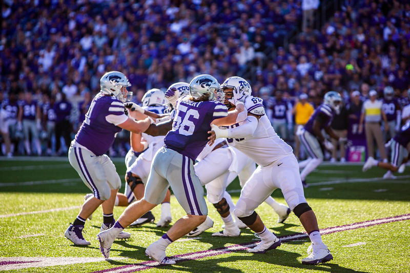 Sophomore defensive end Wyatt Hubert plays during K-State's football game against TCU at Bill Snyder Family Stadium on Oct. 19, 2019. The Wildcats took the Horned Frogs 24-17. (Logan Wassall | Collegian Media Group)