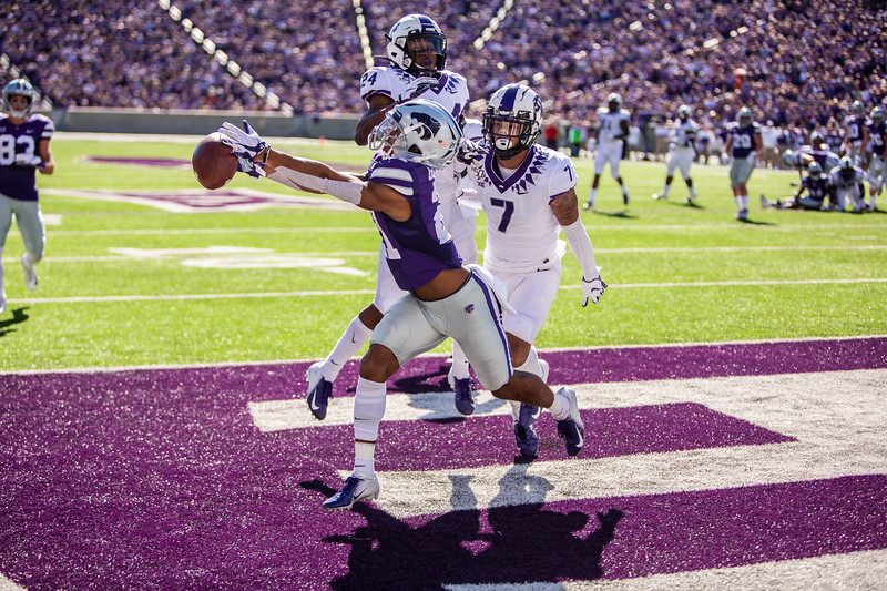 Junior wide receiver Wykeen Gill nearly catches a touchdown pass during K-State's game against TCU at Bill Snyder Family Stadium on Oct. 19, 2019. The Wildcats took the Horned Frogs 24-17. (Logan Wassall | Collegian Media Group)