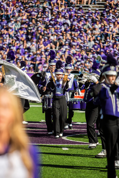 K-State's marching band performes during halftime of K-State's football game against TCU at Bill Snyder Family Stadium on Oct. 19, 2019. The Wildcats took the Horned Frogs 24-17. (Logan Wassall | Collegian Media Group)