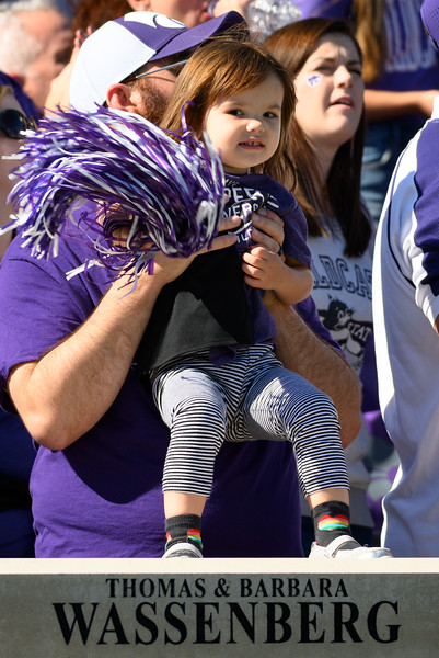 Young fan cheers for Tight End, Nick Lenners, as he scores the first Touchdown of the game against TCU. KSU and TCU faced off at Bill Snyder Family Stadium on Oct 19, 2019. The Wildcats defeated the Horned Frogs 24-17. (Dylan Connell | Collegian Media Group)
