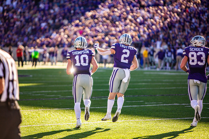 Junior quarterback Skylar Thompson (left) celebrates with junior running back Harry Trotter (right) after running in a touchdown during K-State's football game against TCU at Bill Snyder Family Stadium on Oct. 19, 2019. The Wildcats took the Horned Frogs 24-17. (Logan Wassall | Collegian Media Group)