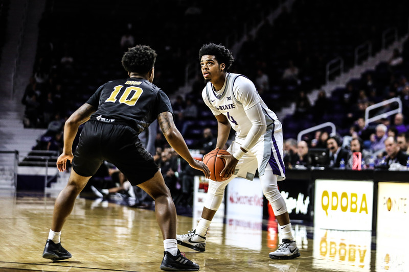 K-State's men's basketball team plays against Alabama State in Bramlage Coliseum on Dec. 11, 2019. The Wildcats took a fast lead and took fans by surprise with score after score. The 'Cats ended up winning with a final score of 86-41. (Emily Lenk | Collegian Media Group)