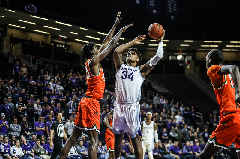 K-State's men's basketball team plays against Florida A&M in Bramlage Coliseum on Dec. 2, 2019. The Wildcats won 76-58. (Emily Lenk | Collegian Media Group)