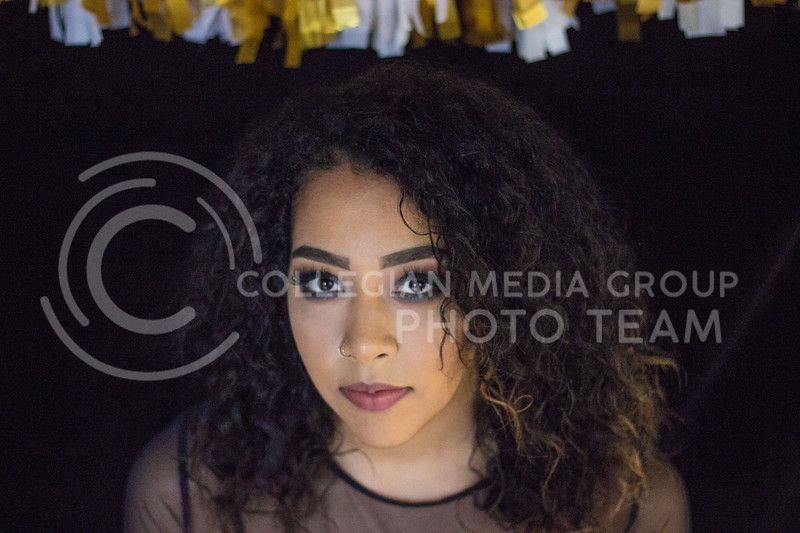 Isabelle McCoy shows the final look of the New Years Eve makeup tutorial on November 10th, 2017. ( Kelly Pham | Collegian Media Group)