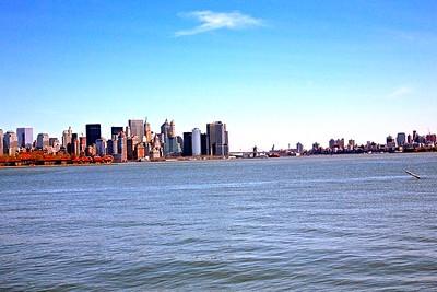 View of Manhattan, Brooklyn, Ellis Island from New York Harbor