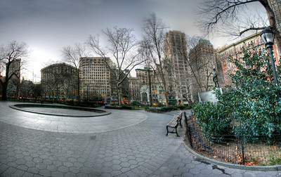 Panoramic view of Madison Square Park. Multiple exposures were combined to form this single image using the HDR (High Dynamic Range) technique.