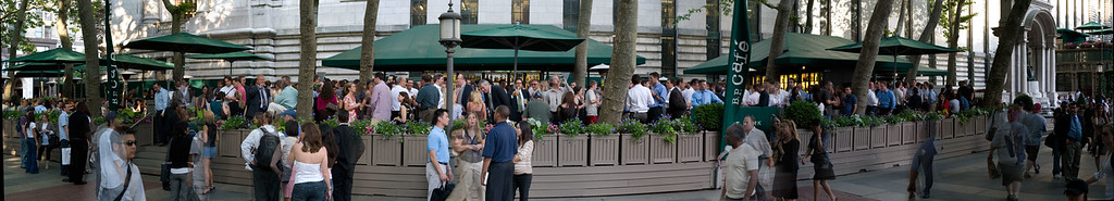 Panorama of Bryant Park Grill, NYC