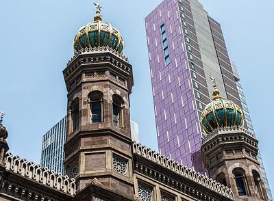 Central Synagogue with Concorde Hotel backdrop