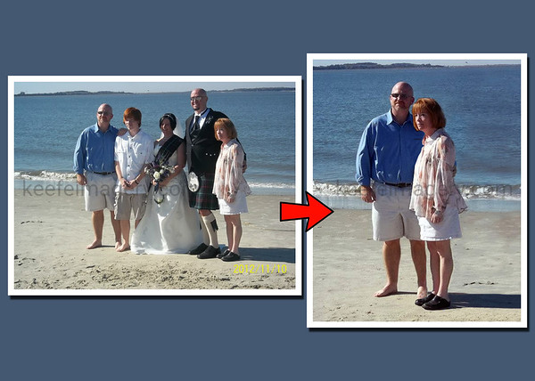 A family photo, taken at a wedding then manipulated into an anniversary image.