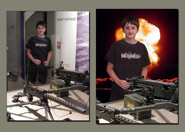 On the left, he was posed for this combination. Removed the Plexiglas separating him from the exhibit, blended him to the .50 caliber M2 Machine Gun. Background image, credit unknown.