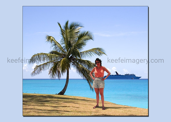 She wasn't actually on that particular beach, the palm tree wasn't actually there and the cruise ship is a part of my imagination as well.