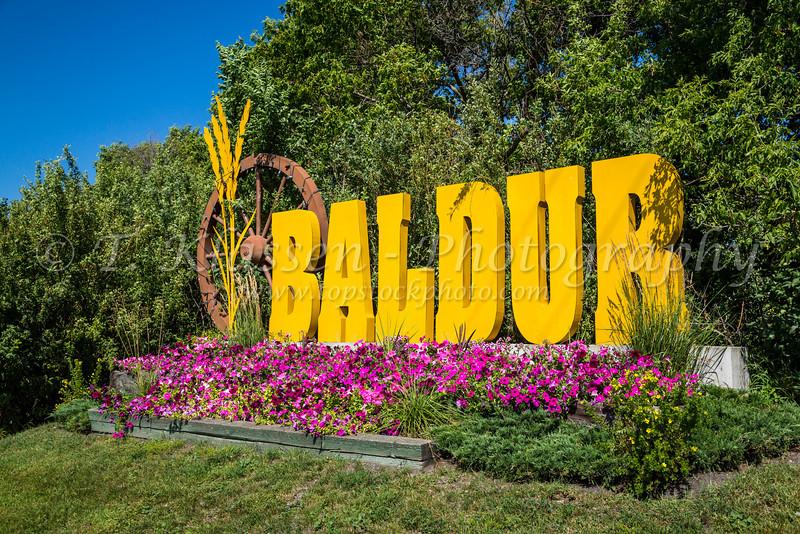 The welcome sign at Baldur, Manitoba, Canada.