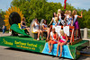 The Altona Sunflower Festival parade float in Carman, Manitoba, Canada.