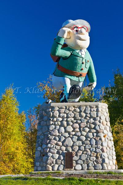 The statue of Josiah Flintabbatey Flonatin in Flin Flon, Manitoba, Canada.
