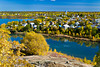 The city of Flin Flon with yellow autumn fall foliage color, Manitoba, Canada.