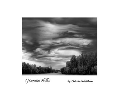 granite hills, black and white, golf course, clouds, manitoba,