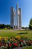 The floral gardens and Peace tower at the International Peace Garden on the North Dakota and Manitoba border.