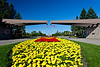 The floral gardens at the entrance to the International Peace Park on the North Dakota and Manitoba border.