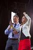 Kate Beirness and Darren Dutchyshen on the set at the TSN/Kraft Celebration tour in Manitou, Manitoba, Canada.