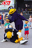 Buzz and Boomer, the two Winnipeg Blue Bomber mascots at the TSN/Kraft Celebration tour in Manitou, Manitoba, Canada.