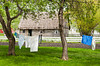 Laundry hanging on the clothes line at the Mennonite Heritage Village in Steinbach, Manitoba, Canada.