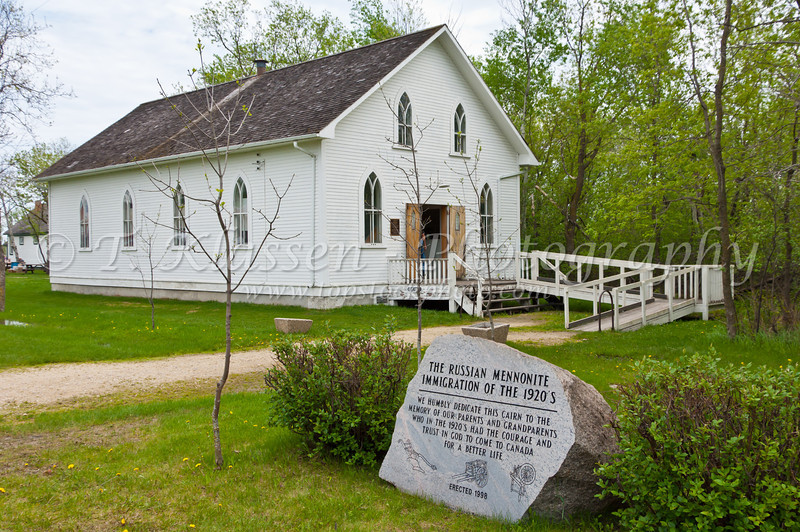 An historic Lichtenau Mennonite church at the Mennonite Heritage Village in Steinbach, Manitoba, Canada.