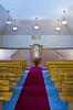Lichtenau Mennonite Church interior at the Mennonite Heritage Village in Steinbach, Manitoba, Canada.