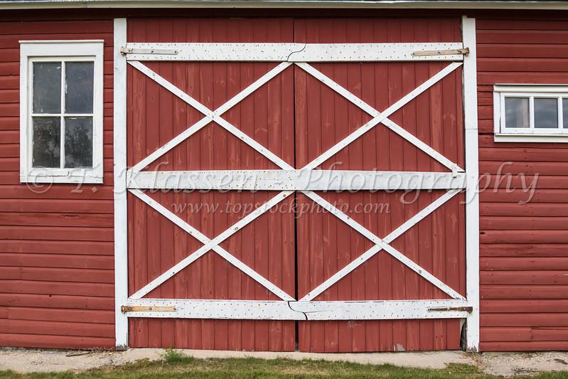 A barn door at an historic restored Mennonite house/barn in Neubergthal, Manitoba, Canada.