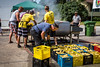 Boiling free corn at the Corn and Apple Festival 2016 in Morden, Manitoba, Canada.