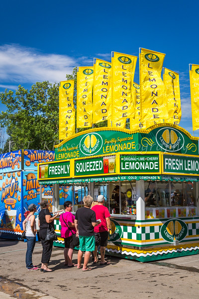 A colorful Lemonade Stand at the Corn and Apple Festival 2016 in Morden, Manitoba, Canada.