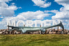 The city sign with monsaur Bruce at the east entrance to Morden Manitoba, Canada.