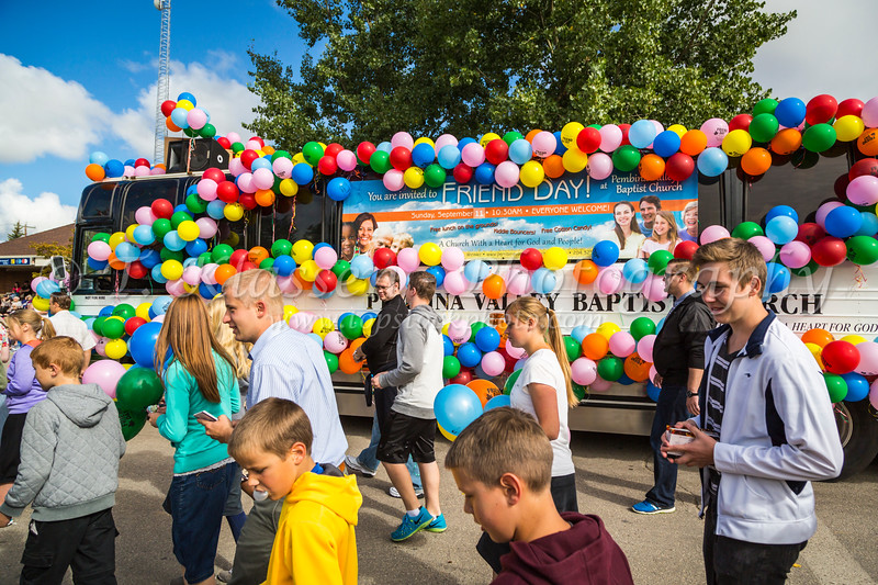 The Pembina Valley Baptist Church bus in the 2016 Plum Fest parade in Plum coulee, Manitoba, Canada.