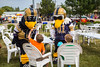 The Winnipeg Blue Bombers mascots Buzz and Boomer at the Plumfest 2015 parade in Plum Coulee, Manitoba, Canada.
