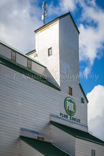 The historic Manitoba Pool elevator in Plum Coulee, Manitoba, Canada.