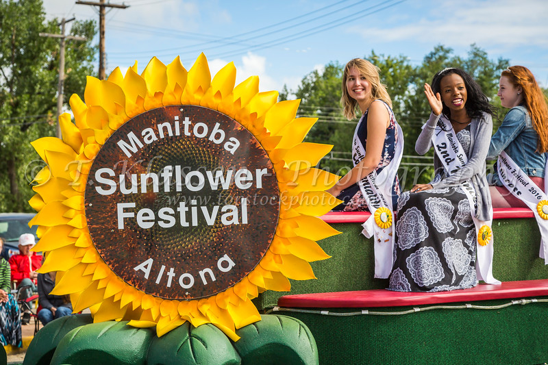 The Manitoba Sunflower Festival parade float at Plum Fest, Plum Coulee, Manitoba, Canada.