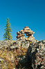 An inukshuk in the Whiteshell Provincial Park, Manitoba, Canada.
