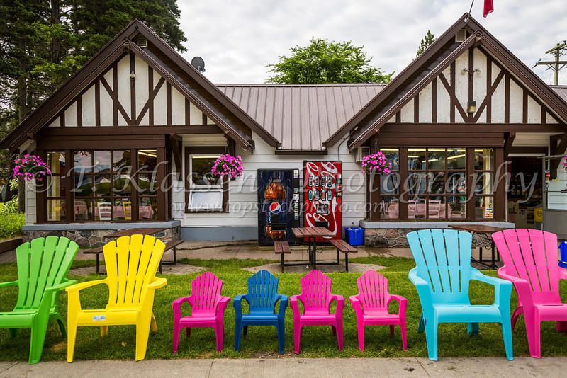 The Boardwalk shops in Wasagaming, Riding Mountain National Park, Clear Lake,  Manitoba, Canada.
