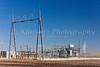 An electrical transformer installation at the windfarm near St. Leon, Manitoba, Canada.