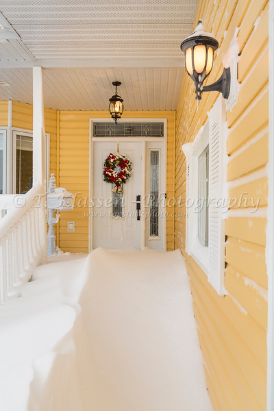 Front entrance door after a blizzard in Winkler, Manitoba, Canada.