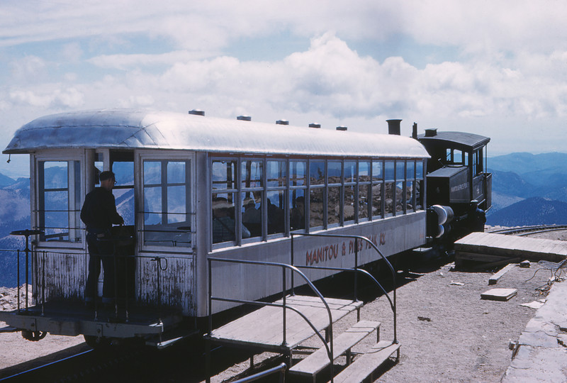 Manitou & Pikes Peak 37 - Sep 1958 - Coach 104 & Eng 4 at Summit of Pikes Peak COLO