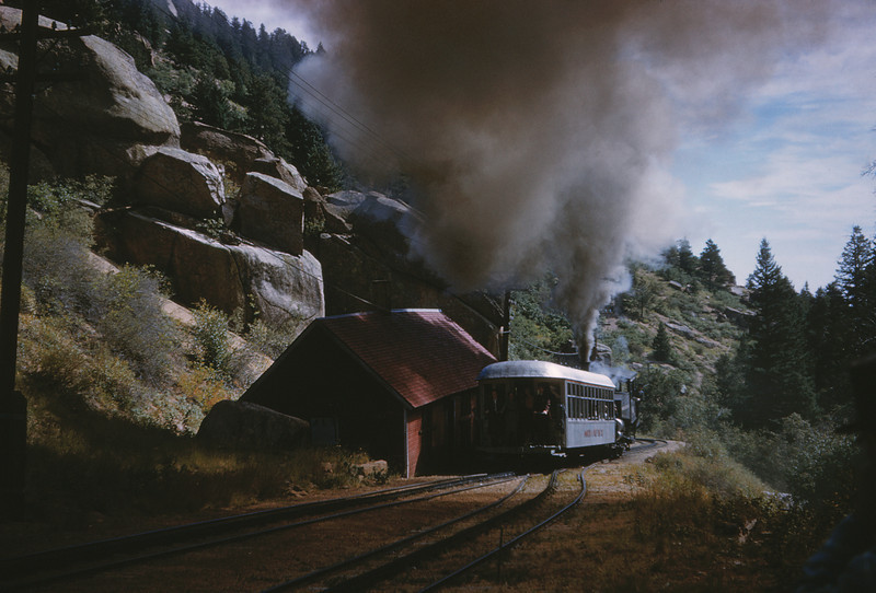 Manitou & Pikes Peak 8 - Sep 7 1958 - Eng 4 and Coach 104 @ Minnehaha Falls COLO