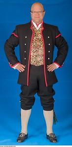 Gudbrandsdal lang jakke med silkebrokadevest