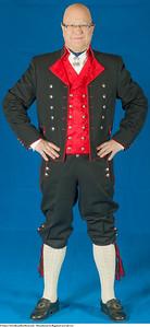 Mannsbunad fra Rogaland med rød vest og jakke i et fint fransk ullstoff som kalles Drape